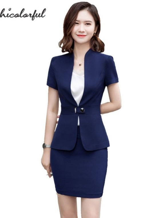 Women Skirt Suit Uniform Blazer