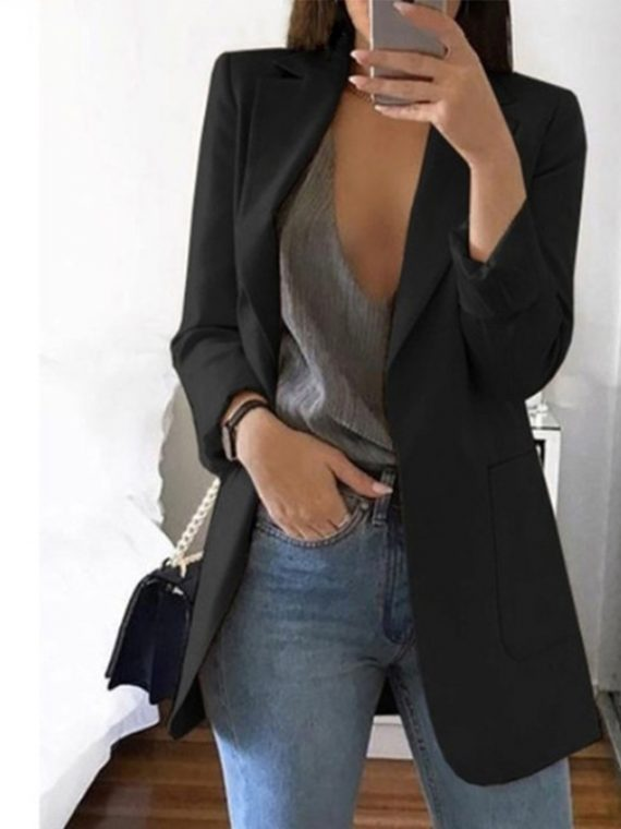 Women Slim Blazers Notched Blazer